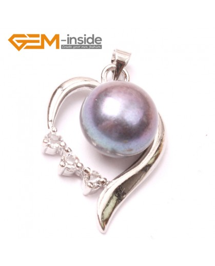 G2893 10-11mm  black Freshwater Cultured Pearl White Gold Plate Heart Shape Pendant Fashion Jewelry Pendants Fashion Jewelry Jewellery