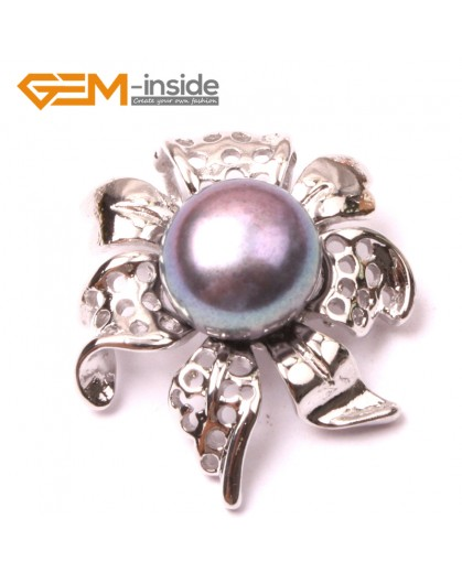 G2897 Black 10-11mm Freshwater Cultured Pearl White Gold Plate Flower Shape Pendant Fashion Jewelry Pendants Fashion Jewelry Jewellery