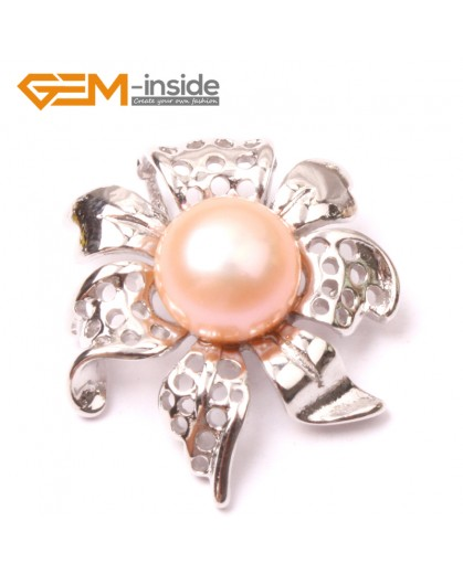 G2898 10-11mm Natrual pink Freshwater Cultured Pearl White Gold Plate Flower Shape Pendant Fashion Jewelry Pendants Fashion Jewelry Jewellery