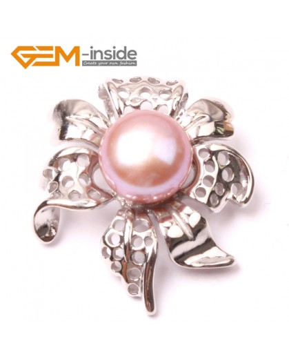 G2900 Natural Purple 10-11mm Freshwater Cultured Pearl White Gold Plate Flower Shape Pendant Fashion Jewelry Pendants Fashion Jewelry Jewellery