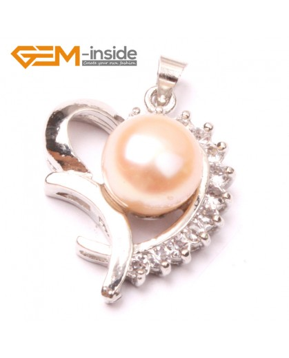 G2901 Natural pink 10-11mm Freshwater Cultured Pearl White Gold Plate Love Heart Shape Pendant Jewelry Making Pendants Fashion Jewelry Jewellery