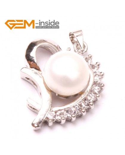 G2902 Natural white 10-11mm Cultured Freshwater  Pearl White Gold Plate Love Heart Shape Pendant Jewelry Making Pendants Fashion Jewelry Jewellery