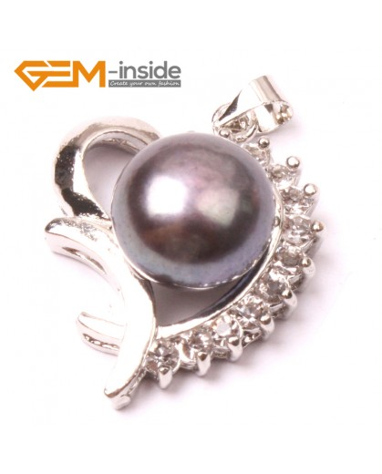 G2903 black 10-11mm Freshwater Cultured Pearl White Gold Plate Love Shape Pendant Jewelry Making Pendants Fashion Jewelry Jewellery