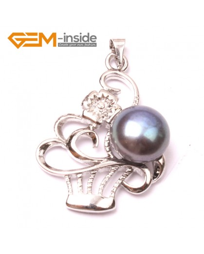 G2909 black 10-11mm Cultured Freshwater  Pearl White Gold Plate Basket Shape Pendant Fashion Jewelry Pendants Fashion Jewelry Jewellery