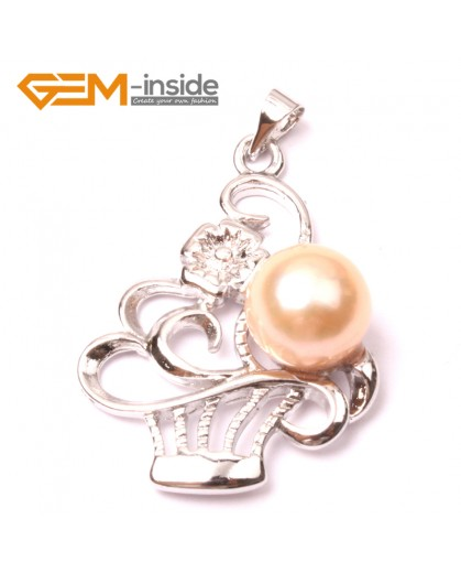 G2910 Natural Pink 10-11mm Cultured Freshwater Pearl White Gold Plate Basket Shape Pendant Fashion Jewelry Pendants Fashion Jewelry Jewellery