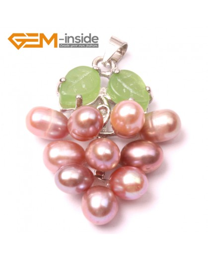 G2925 5-6mmx7-8mm Purple Freshwater Pearl Grape Shape Pendant Fashion Jewelry Jewellery for Lady 1 Pcs