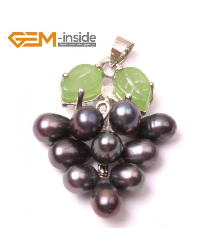 G2926 5-6mmx7-8mm Black Freshwater Pearl Grape Shape Pendant Fashion Jewelry Jewellery for Lady 1 Pcs