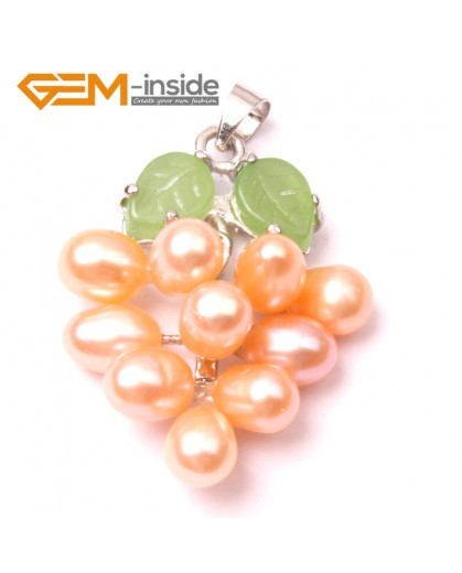 G2927 5-6mmx7-8mm Pink Freshwater Pearl Grape Shape Pendant Fashion Jewelry Jewellery for Lady 1 Pcs