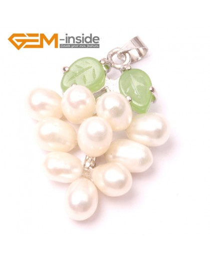 G2928 5-6mmx7-8mm White Freshwater Pearl Grape Shape Pendant Fashion Jewelry Jewellery for Lady 1 Pcs