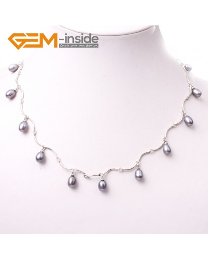"""G3007 black Fashion Pretty Jewelry 7-8x8-10mm Freshwater Pearl Gold Plated Necklace 18"""" Pearl Necklaces Fashion Jewelry Jewellery"""