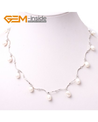 "G3008 white Fashion Pretty Jewelry 7-8x8-10mm Freshwater Pearl Gold Plated Necklace 18"" Pearl Necklaces Fashion Jewelry Jewellery"