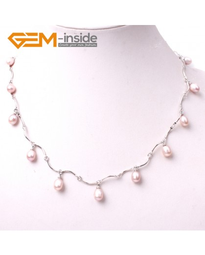 """G3015 purple  Fashion Pretty Jewelry 7-8x8-10mm Freshwater Pearl Gold Plated Necklace 18"""" Pearl Necklaces Fashion Jewelry Jewellery"""