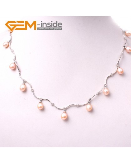 "G3016 pink Fashion Pretty Jewelry 7-8x8-10mm Freshwater Pearl Gold Plated Necklace 18"" Pearl Necklaces Fashion Jewelry Jewellery"
