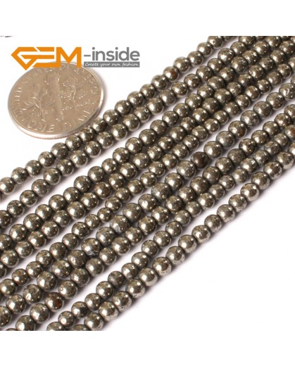"G3018 3mm Natural Pyrite Round Gemstone Tiny Jewelry Making Loose Spacer Beads Strand 15"" Natural Stone Beads for Jewelry Making Wholesale"