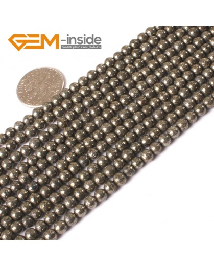"G3019 4mm Round Gemstone Natural Silver Gray Pyrite Stone Loose Beads Strand 15"" Free Shipping Natural Stone Beads for Jewelry Making Wholesale"