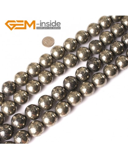 "G3020 20mm Round Gemstone Silver Gray Natural Pyrite Stone Loose Beads Strand 15"" Free Shipping Natural Stone Beads for Jewelry Making Wholesale"
