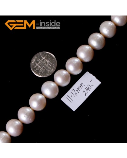 "G3182 White 11-12mm Natural Freshwater Round Pearl Beads Strand 15"" Beads for Jewelry Making"