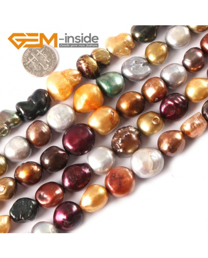 "G3280 12-13mm Freeform Multi-color Freshwater Pearl Beads Jewelry Making Gemstone Beads 15"" Natural Stone Beads for Jewelry Making Wholesale"
