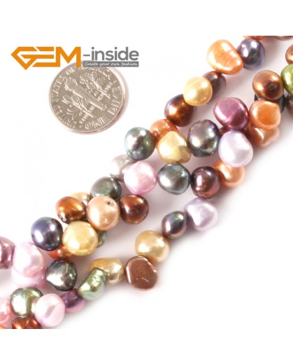 "G3286 7-8mm Freeform Multi-color Freshwater Pearl Beads Jewelry Making Gemstone Beads 15"" Natural Stone Beads for Jewelry Making Wholesale"