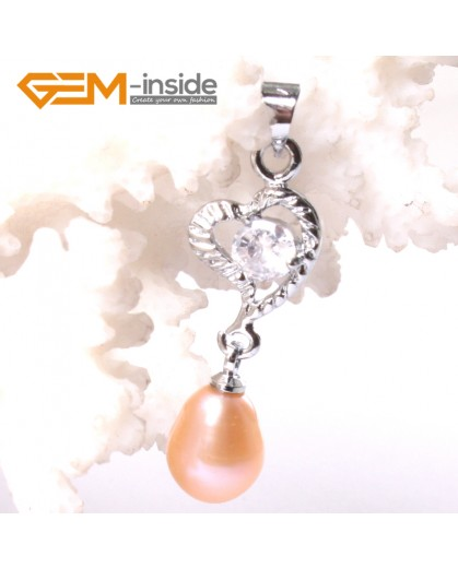 G3305 Pink  Freshwater Pearl Dangle White Gold Plated Pendants for Necklace Fashion Jewelry Jewellery 1 Pcs