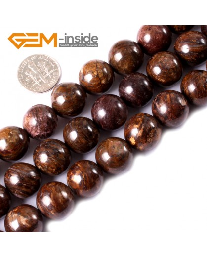 "G3312 14mm Round Gemstone Natural Bronzite Stone Beads Loose Beads Strand15"" Natural Stone Beads for Jewelry Making Wholesale"