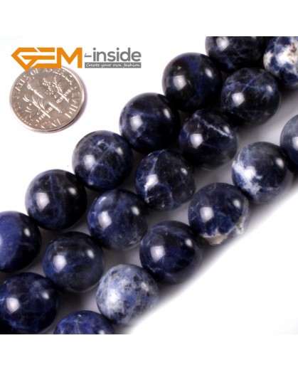 "G3391 14mm Natural Round Blue Sodalite Gemstone Loose Beads Strand 15"" Natural Stone Beads for Jewelry Making Wholesale"