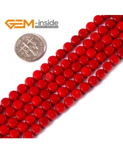 "G3488 6mm coin Red coral beads strand 15"" Natural Stone Beads for Jewelry Making Wholesale"