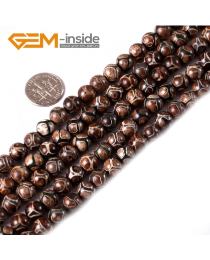 "G3544 Brown Round Gemstone Football Fire Agate Loose Beads Strand 15"" Natural Stone Beads for Jewelry Making Wholesale"