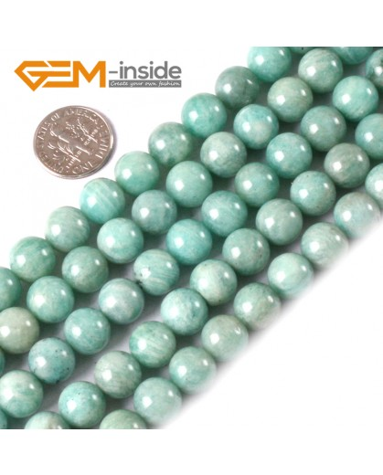 G3548 10mm Round Gemstone Blue Natural Russia Amazonite Stone Beads Strand 15 Natural Stone Beads for Jewelry Making Wholesale