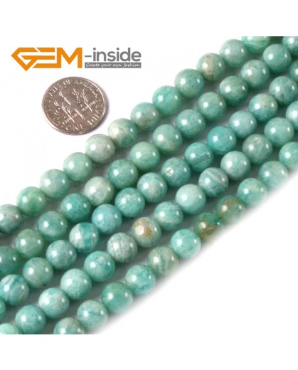 G3549 8mm Round Gemstone Blue Natural Russia Amazonite Stone Loose Beads Strand 15 Natural Stone Beads for Jewelry Making Wholesale