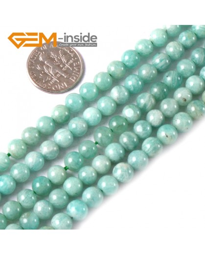 G3550 6mm Round Gemstone Blue Natural Russia Amazonite Stone Loose Beads Strand 15 Natural Stone Beads for Jewelry Making Wholesale