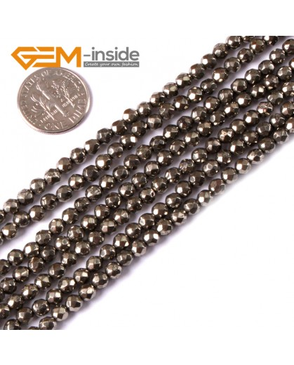 "G3580 4mm Round Faceted Gemstone Silver Gray Natural Pyrite Loose Beads Strand 15"" Natural Stone Beads for Jewelry Making Wholesale"
