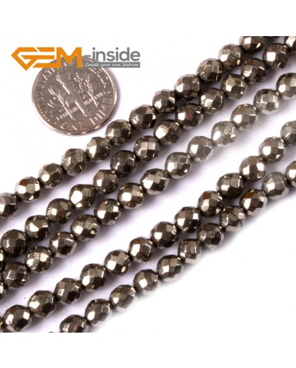 "G3581 6mm Round Faceted Gemstone Silver Gray Natural Pyrite Loose Beads Strand 15"" Natural Stone Beads for Jewelry Making Wholesale"