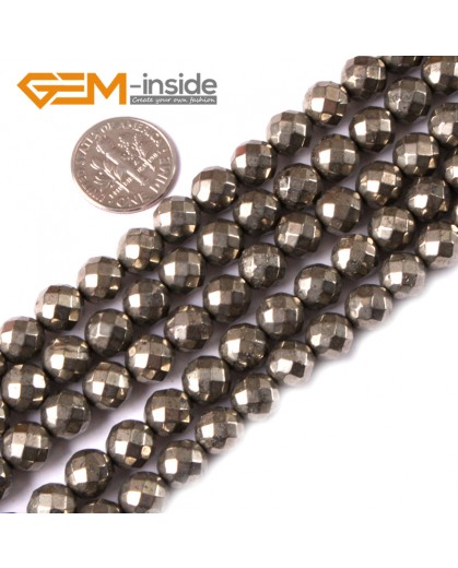 "G3582 8mm Round Faceted Gemstone Silver Gray Natural Pyrite Loose Beads Strand 15"" Natural Stone Beads for Jewelry Making Wholesale"