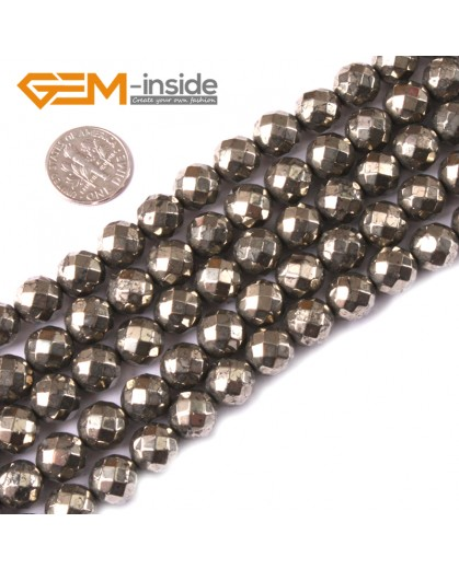 "G3583 10mm Round Faceted Gemstone Silver Gray Natural Pyrite Loose Beads Strand 15"" Natural Stone Beads for Jewelry Making Wholesale"