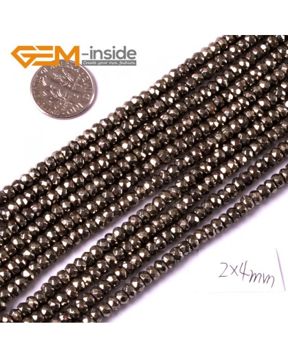 "G3586 2x4mm Rondelle Faceted Silver Gray Pyrite Loose Beads Strand 15"" Natural Stone Beads for Jewelry Making Wholesale"