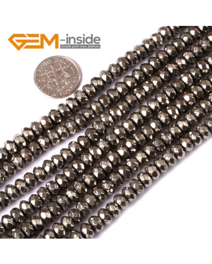 "G3588 4x6mm Rondelle Faceted Silver Gray Pyrite Loose Beads strand 15"" Natural Stone Beads for Jewelry Making Wholesale"