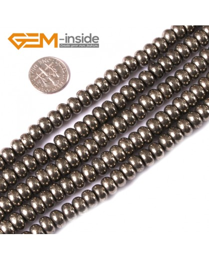 "G3590 5x8mm Rondelle Polished Silver Gray Pyrite Loose Beads strand 15"" Natural Stone Beads for Jewelry Making Wholesale"