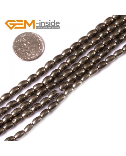 "G3591 4x6mm Olivary Rice Gemstone Silver Gray Pyrite Stone Loose Beads Strand 15"" Natural Stone Beads for Jewelry Making Wholesale"