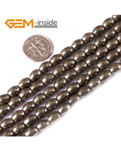 "G3592 6x8mm Olivary Rice Gemstone Silver Gray Pyrite Stone Loose Beads Strand 15"" Natural Stone Beads for Jewelry Making Wholesale"