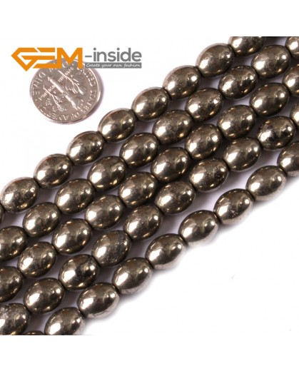 "G3593 8x10mm Olivary Rice Gemstone Silver Gray Pyrite Jewelry Making Stone Loose Beads Strand 15"" Natural Stone Beads for Jewelry Making Wholesale"