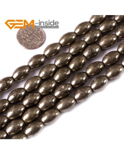 "G3594 8x12mm Olivary Rice Gemstone Silver Gray Pyrite Stone Loose Beads Strand 15"" Natural Stone Beads for Jewelry Making Wholesale"