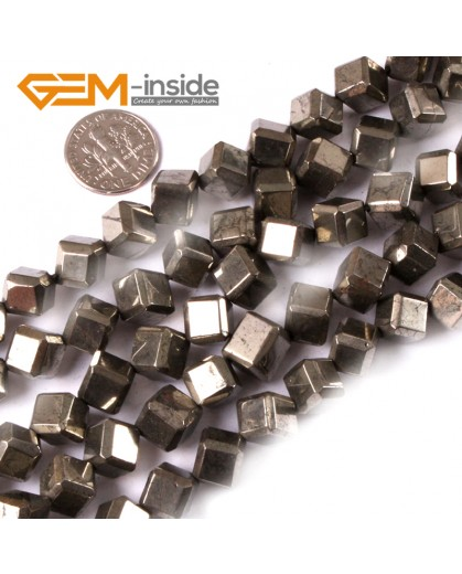 "G3603 8mm cubic Gemstone Silver Gray Pyrite Stone Beads Strand 15"" Free Shipping Natural Stone Beads for Jewelry Making Wholesale"