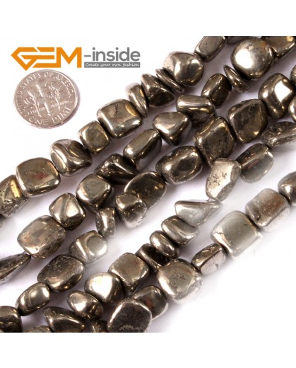 """G3605 8-12mm Freefrom Silver Gray Pyrite Gemstone Loose Beads 15""""Jewelery Making Beads Natural Stone Beads for Jewelry Making Wholesale"""