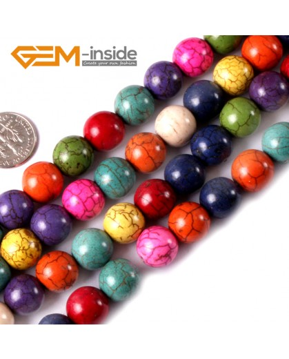 "G3623 12mm Round Multi-Color Howlite Stone Beads Dyed Color 15"" Stone Beads for Jewelry Making Wholesale"