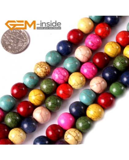 "G3624 10mm Round Multi-Color Howlite Stone Beads Dyed Color 15"" Stone Beads for Jewelry Making Wholesale"