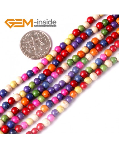 "G3625 4mm Mixed Howlite Dyed Turquoise Round Gemstone Tiny Jewelry Making Loose Spacer Beads Strand 15"" Natural Stone Beads for Jewelry Making Wholesale"