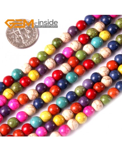 "G3626 6mm Round Multi-Color Howlite Stone Beads Dyed Color 15"" Stone Beads for Jewelry Making Wholesale"