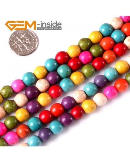 "G3627 8mm Round Multi-Color Howlite Stone Beads Dyed Color 15"" Stone Beads for Jewelry Making Wholesale"