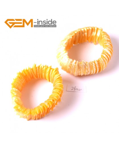 "G3645 28mm Yellow Shell MOP Dyed Color Bracelet 7"" Two Kinds of Wear Method  Fashion Jewelry Jewellery Bracelets for Women"